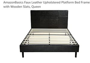 Amazon Faux Leather Upholstered Platform Bed Frame Queen for Sale in Canal Winchester, OH