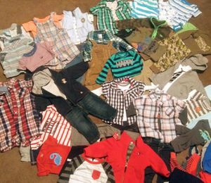 Name brand baby boy clothing lot sizes newborn to 6 months over 100 pieces and small diaper bag with misc. Items included for Sale in Marysville, WA