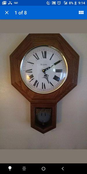 Antique Bulova Pendulum Chime Wall Clock Regulator Wood Grandfather for Sale in Dearborn, MI
