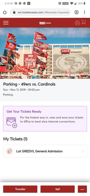 49ers vs Cardinals green lot parking pass for Sale in Daly City, CA