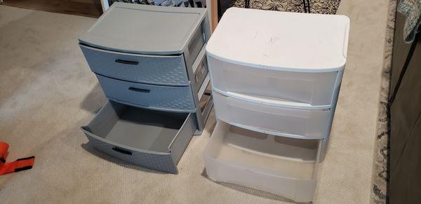 Two Sterilite closet organizers plastic drawers