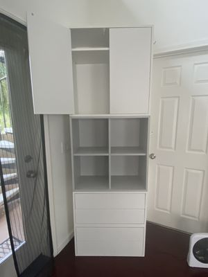 Modern White/Gray bookcase shelf cabinet modular (firm price) for Sale in San Diego, CA