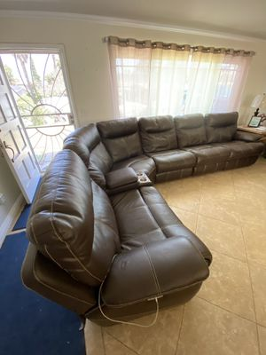 Living room set leather sectional electric recliners with USB connections for Sale in Chula Vista, CA