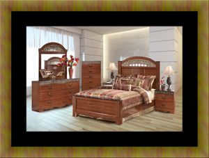 11pc Ashley cherry bedroom set with mattress for Sale in Hyattsville, MD