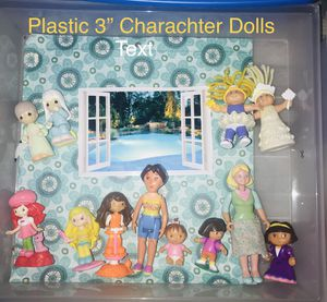 """3"""" dolls variety pack w/Dora, precious moments cabbage patch and strawberry shortcake for Sale in Rowlett, TX"""