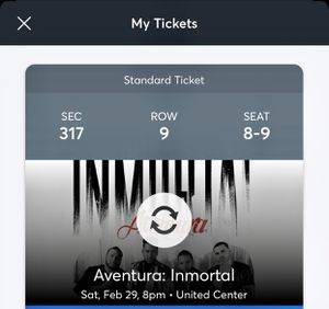 Aventura tickets for Saturday 29th at United Center for Sale in Bensenville, IL