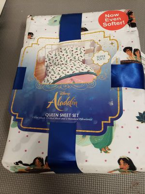 Disney Aladdin Princess Jasmine 4 Piece QUEEN Sheet Set Bedding Sheets NEW for Sale in Louisville, KY