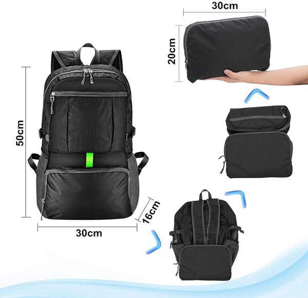 Brand New $12 Ultra-Light (Weight 11oz) Hiking Backpack Waterproof Travel Rucksack, Double Zip Foldable (30L)