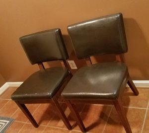 A PAIR OF LEATHER CUSHION CHAIRS for Sale in Ashburn, VA