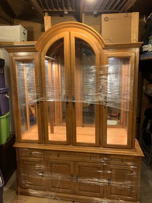 Wooden china cabinet, with glass shelves for Sale in Oak Forest, IL