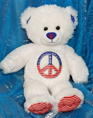 """Build-A-Bear patriotic peace sign Teddy plush toy red white & blue 17"""" for Sale in Dale, TX"""
