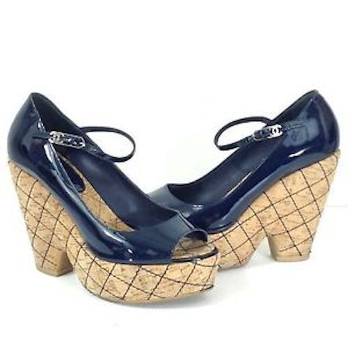 Authentic Chanel Navy Blue Quilted Cork.Size 39, US 9. Mint.Worn inside.$780