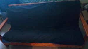 FREE - CURB ALERT Wood Futon, Mattress & Zip Cover for Sale in Delaware, OH