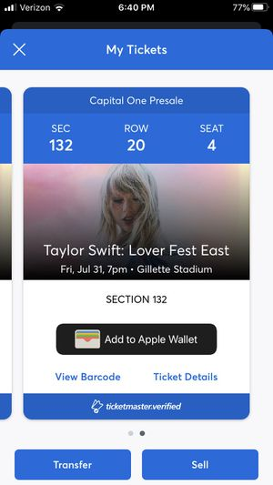 2 Tickets to Taylor Swift Lover Fest East, 7/31/20, 7pm at Gillette Stadium for Sale in Foxborough, MA