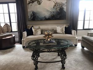 Antique glass topped bronze coffee table for Sale in Chino Hills, CA