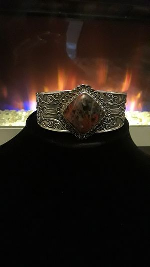 925 stamped cuff with beautiful gemstone in red tones for Sale in Gibsonton, FL