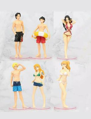 One piece anime pvc set of 6 figures beach theme for Sale in Spring Hill, FL