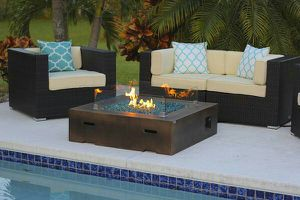 BRAND NEW FACTORY DIRECT 42x42 inch Square Modern Concrete Gas Fire Pit Table in Brown for Sale in Miami, FL