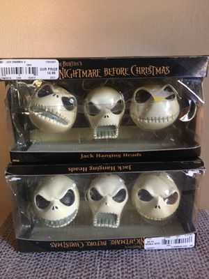 Nightmare Before Christmas 6 Jack Head Ornaments Vintage for Sale in Pittsburgh, PA