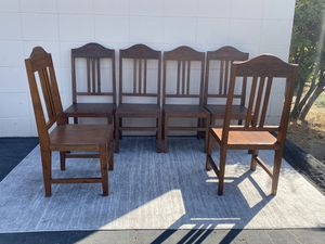 Rustic Wood Dining Table & Chairs 6 side chairs and 2 captains chairs for Sale in San Diego, CA