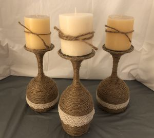 Twine Wrapped Wine Glass Candle Holders for Sale in Bluffdale, UT