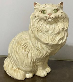 Vintage Mid Century Modern MCM Large 14 Inch Ceramic Green Eye Persian Cat Statue Figurine In Excellent Condition for Sale in Chapel Hill, NC