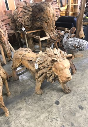 Teak Lion Statue Carving Solid Wood for Sale in Vancouver, WA