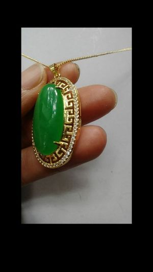 Stamped 925 chain with Gold Plate overlay Green JADE Pendant Cabochon Necklace Diamond Imitation for Sale in Richmond, CA