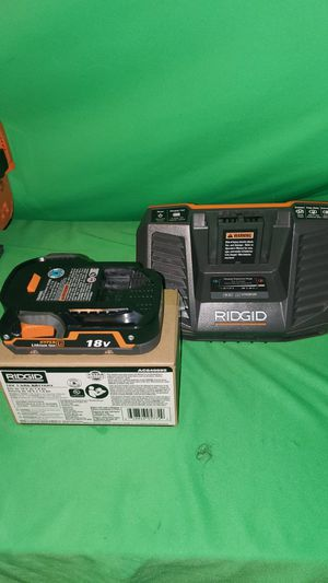 RIDGID 18V BATTERY & CHARGER COMBO for Sale in Beaumont, CA