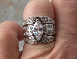 Luxury Marquese 3 Ring Sterling Silver Wedding Set for Sale in Baltimore, MD