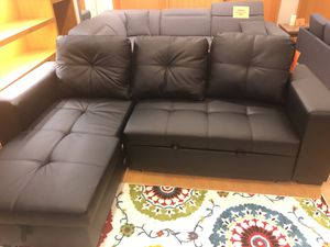 Black Bonded Leather Sectional Sofa with Storage for Sale in Dallas, TX