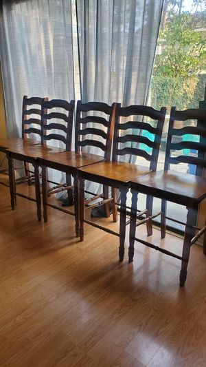 Free wood bar top chairs (5) free for Sale in Ontario, CA