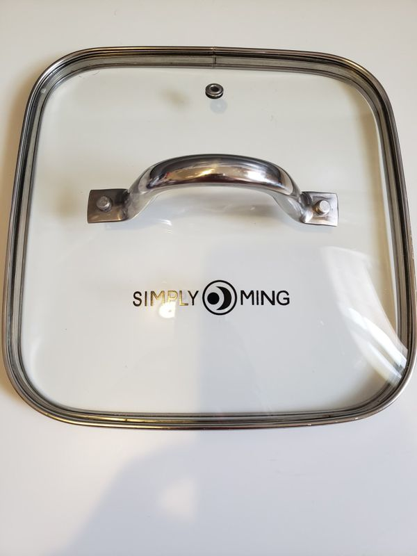 Simply Ming 8 Inch Quart Square Pan With Glass lid and Stainless.