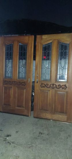 Victorian Style Stained Glass Double Front Entry Doors for Sale in Los Angeles,  CA
