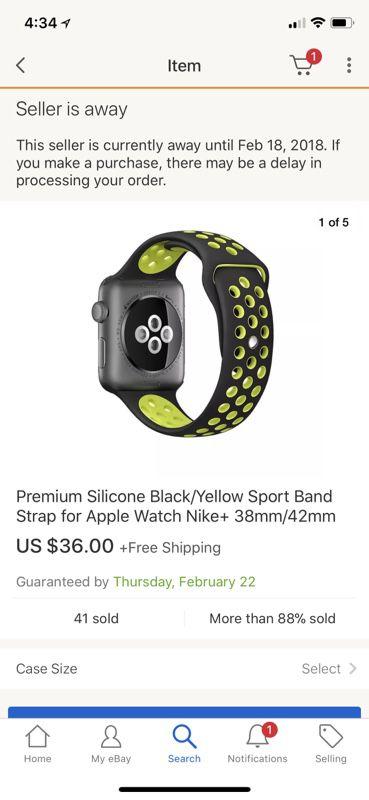Nike Apple Watch band 42mm silver/green