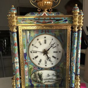 20th Century Chinese cloisonné French style mantle clock (see description) for Sale in Henderson, NV