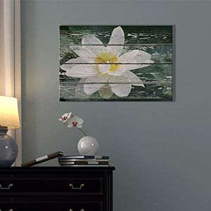((FREE SHIPPING)) - canvas prints wall art - white lotus flower in water on vintage wood background rustic home decoration Painting like print for Sale in Old Greenwich, CT