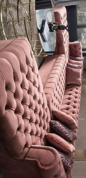 Lauren velvet pink double chaise sectional sofa for Sale in Houston, TX