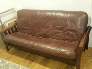 Futon genuine leather for Sale in Long Grove, IL