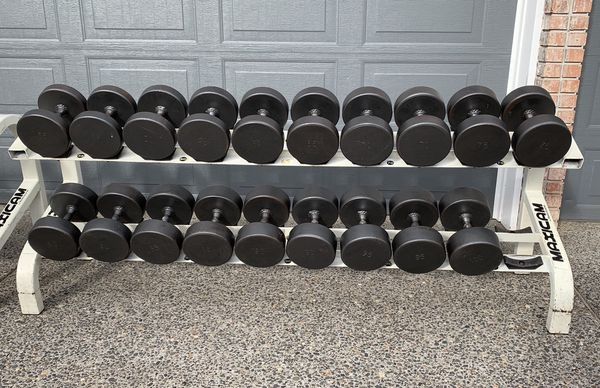 Workout 65-100lbs Weights (1080lbs Total) & Commercial Grade Rack $1/lb