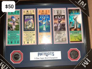 Patriots winning superbowl tickets/coins for Sale in Hermon, ME