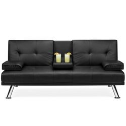 Modern Faux Leather Convertible Futon Sofa Bed Recliner Couch w/ Metal Legs, 2 Cup Holders...black for Sale in Pickerington,  OH