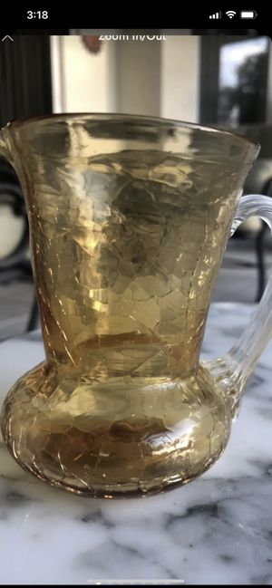 Vintage Fenton amber Yellow Crackle Glass Miniature Pitcher, In great condition for Sale in Hobe Sound, FL