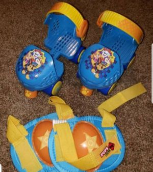 Like New Nickelodeon Paw Patrol Kids Adjustable Junior Skates & Knee Pads Set Ages 3-5 Weight Limit 45lbs for Sale in Jacksonville, FL
