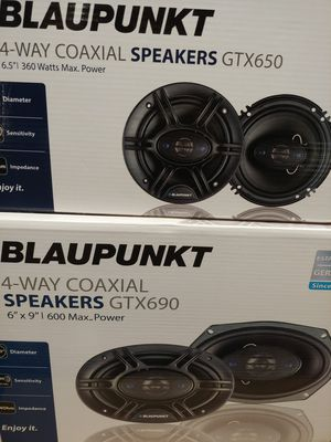 Car speakers : ( total 2 PAIRS ) Blaupunkt 1 pair 6.5 inch 4 way 360 watts & 1 pair 6×9 4 way 600 watts car speakers new for Sale in Santa Ana, CA