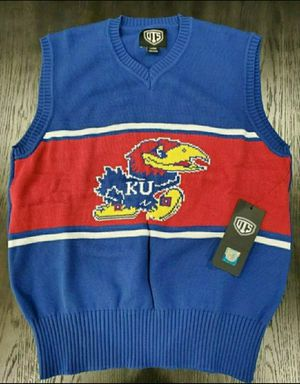 New Men's OTS Kansas Jayhawks Sweater Vest Medium Logo Royal Sizes Medium Large for Sale in Dallas, TX