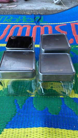 4 square glass storage containers with metal lids for Sale in Tacoma, WA