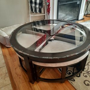 Coffee Table with 4 Pull-Out Stools for Sale in Freehold, NJ