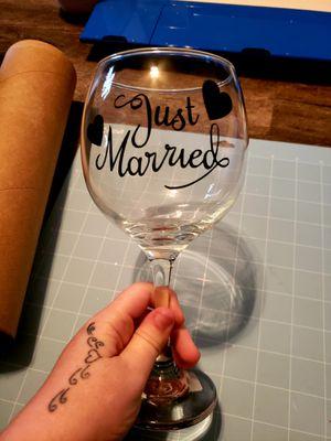 Custom just married wine glass for Sale in Bridgeport, WV