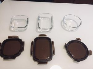 3-Glass Storage Containers with Lid for Sale in Virginia Beach, VA